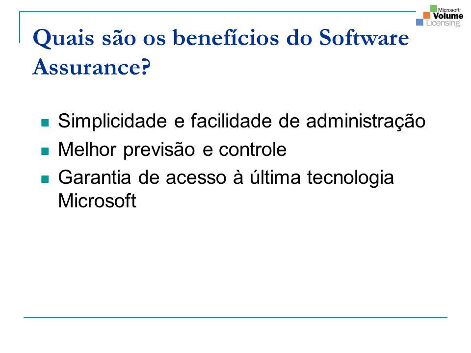 Quais são os benefícios do Software Assurance