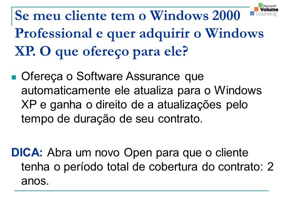 Se meu cliente tem o Windows 2000 Professional e quer adquirir o Windows XP. O que ofereço para ele