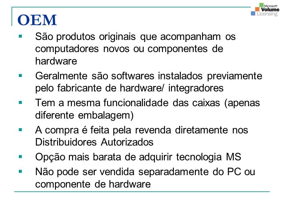 OEM São produtos originais que acompanham os computadores novos ou componentes de hardware.