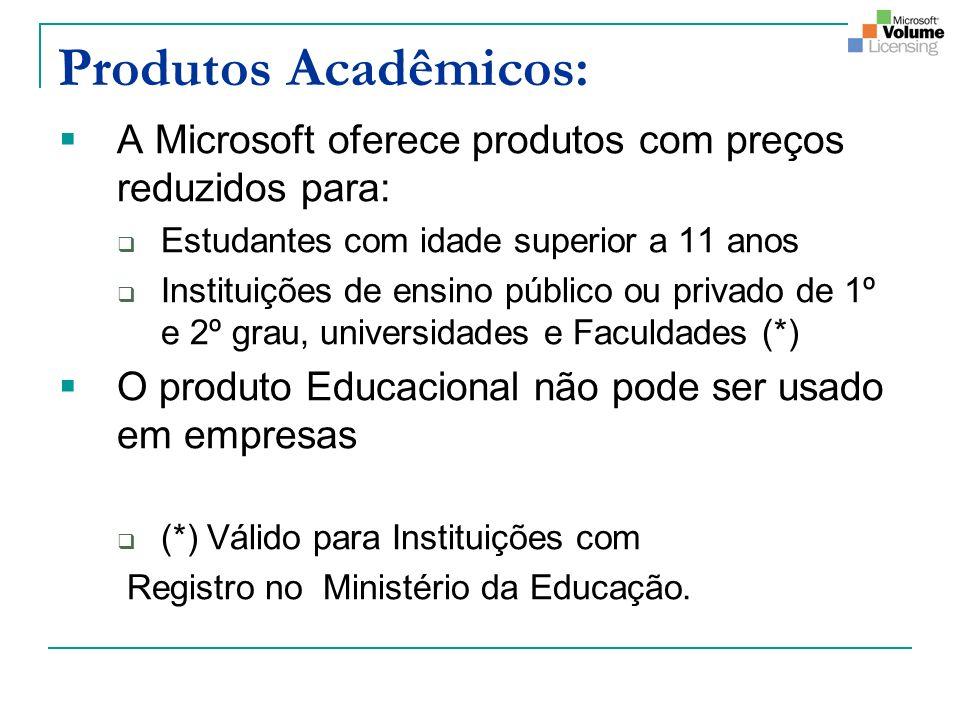 Produtos Acadêmicos: A Microsoft oferece produtos com preços reduzidos para: Estudantes com idade superior a 11 anos.