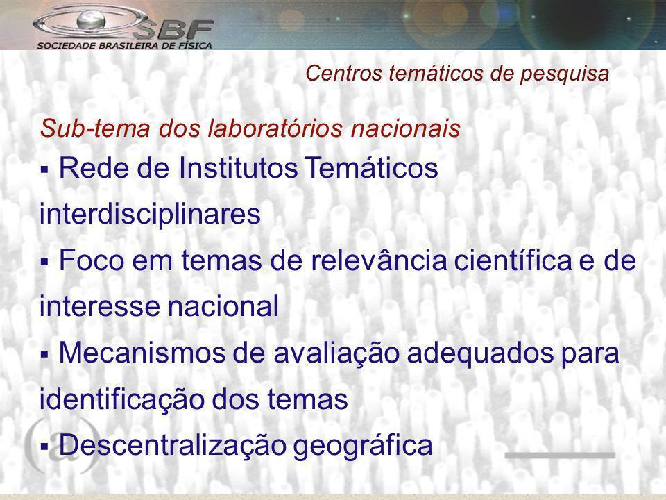 Centros temáticos de pesquisa