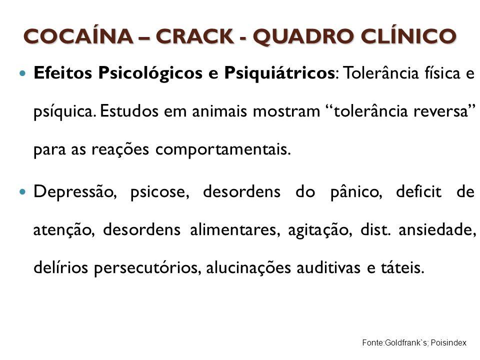 COCAÍNA – CRACK - QUADRO CLÍNICO