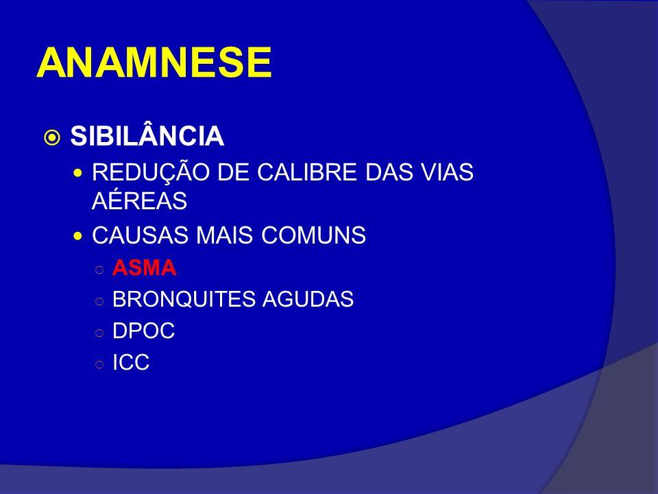 ANAMNESE SIBILÂNCIA REDUÇÃO DE CALIBRE DAS VIAS AÉREAS