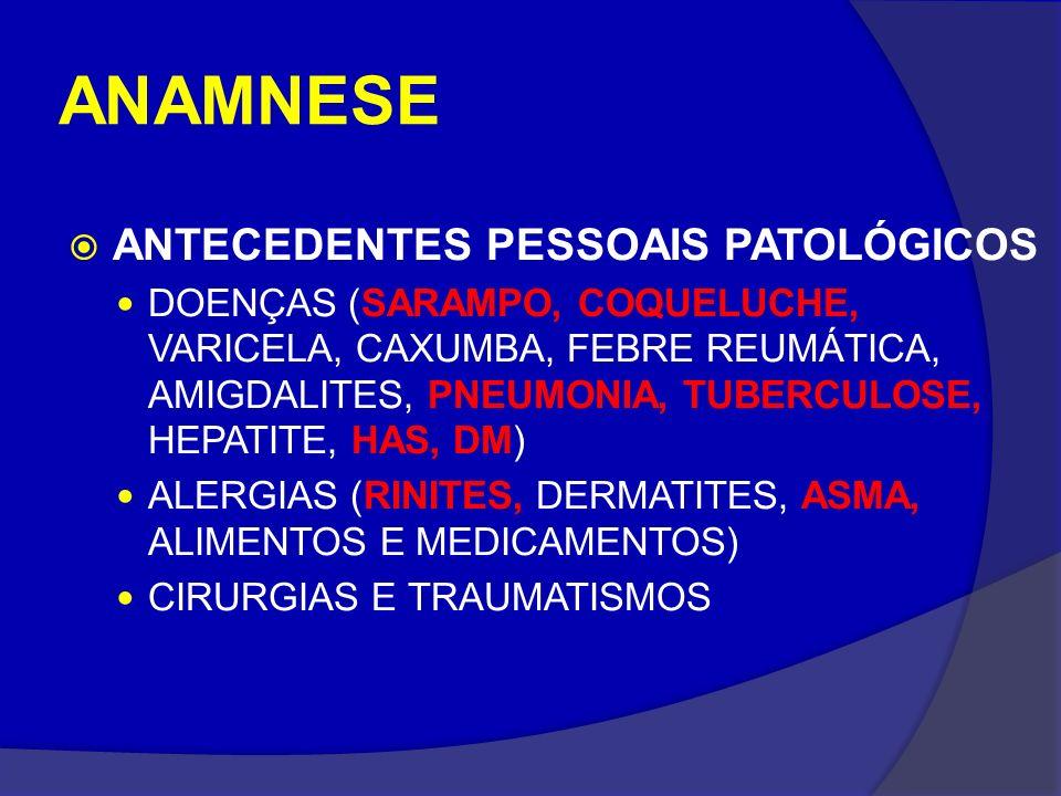 ANAMNESE ANTECEDENTES PESSOAIS PATOLÓGICOS
