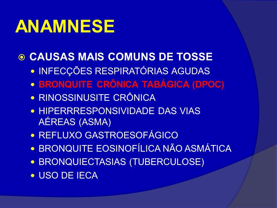 ANAMNESE CAUSAS MAIS COMUNS DE TOSSE INFECÇÕES RESPIRATÓRIAS AGUDAS