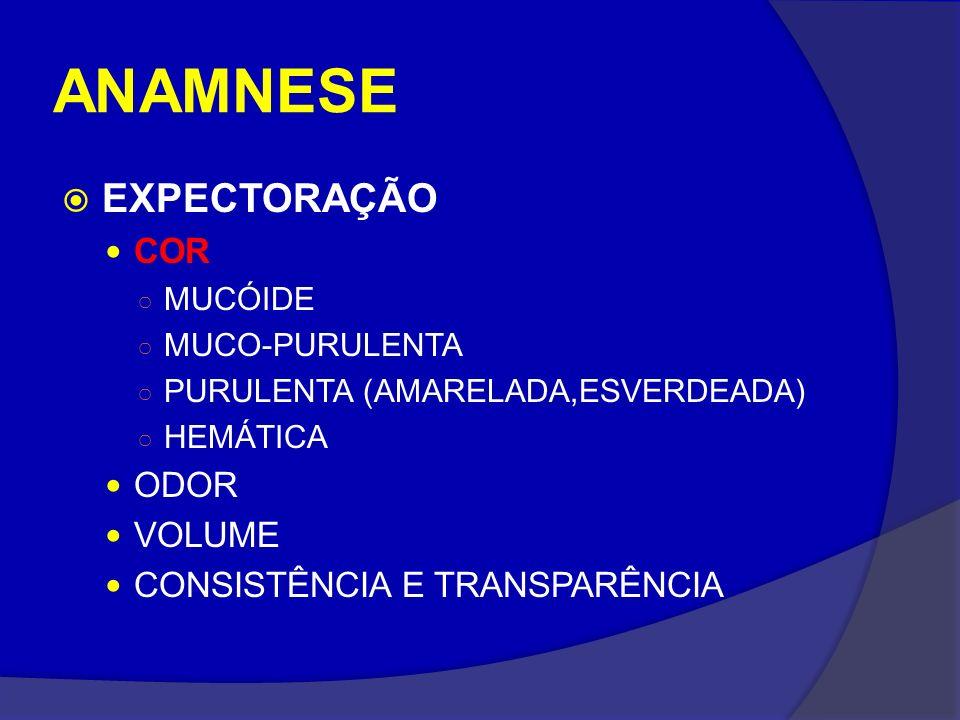 ANAMNESE EXPECTORAÇÃO COR ODOR VOLUME CONSISTÊNCIA E TRANSPARÊNCIA