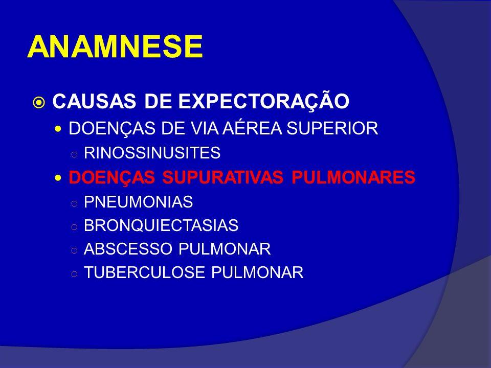 ANAMNESE CAUSAS DE EXPECTORAÇÃO DOENÇAS DE VIA AÉREA SUPERIOR