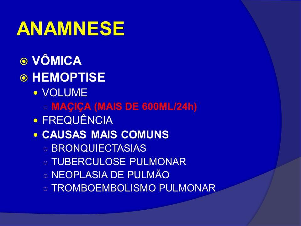 ANAMNESE VÔMICA HEMOPTISE VOLUME FREQUÊNCIA CAUSAS MAIS COMUNS