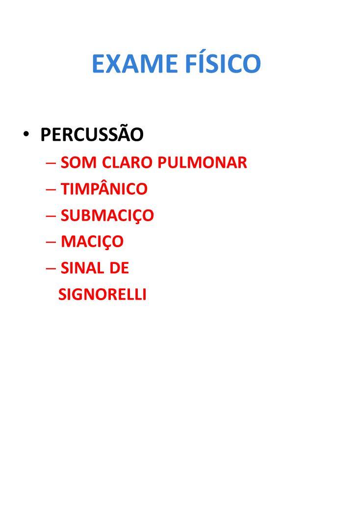 EXAME FÍSICO PERCUSSÃO SOM CLARO PULMONAR TIMPÂNICO SUBMACIÇO MACIÇO