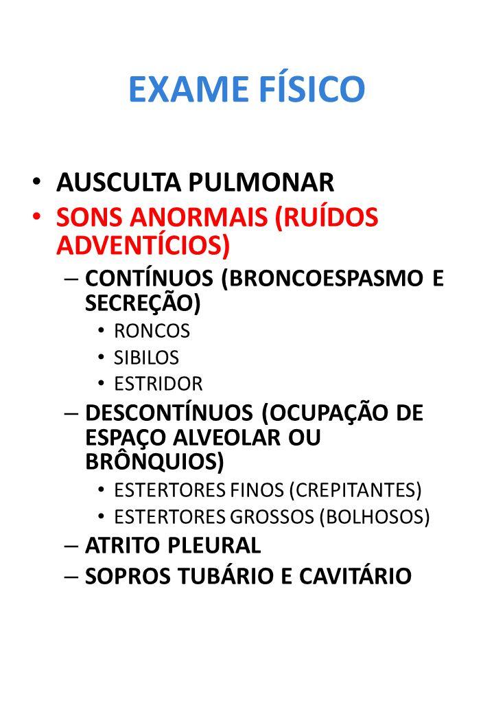 EXAME FÍSICO AUSCULTA PULMONAR SONS ANORMAIS (RUÍDOS ADVENTÍCIOS)