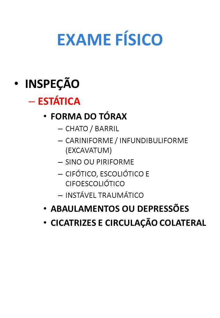 EXAME FÍSICO INSPEÇÃO ESTÁTICA FORMA DO TÓRAX