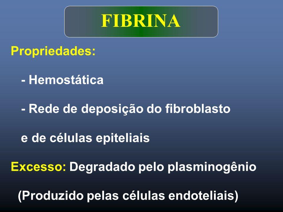 FIBRINA Propriedades: - Hemostática - Rede de deposição do fibroblasto