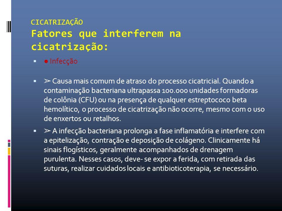 CICATRIZAÇÃO Fatores que interferem na cicatrização: