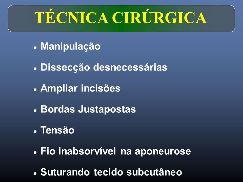 TÉCNICA CIRÚRGICA  Manipulação  Dissecção desnecessárias