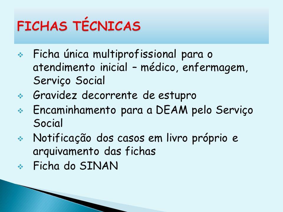 FICHAS TÉCNICAS Ficha única multiprofissional para o atendimento inicial – médico, enfermagem, Serviço Social.