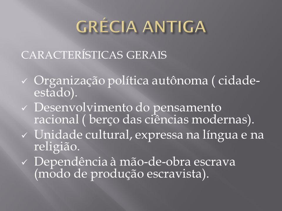 GRÉCIA ANTIGA Organização política autônoma ( cidade-estado).