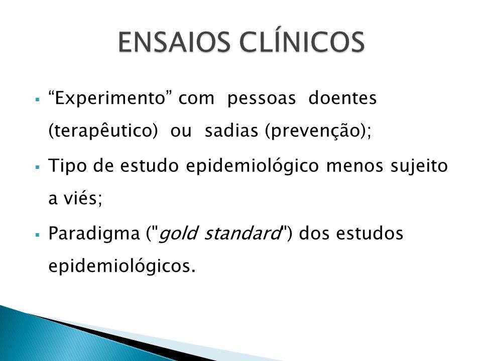 ENSAIOS CLÍNICOS Experimento com pessoas doentes (terapêutico) ou sadias (prevenção); Tipo de estudo epidemiológico menos sujeito a viés;