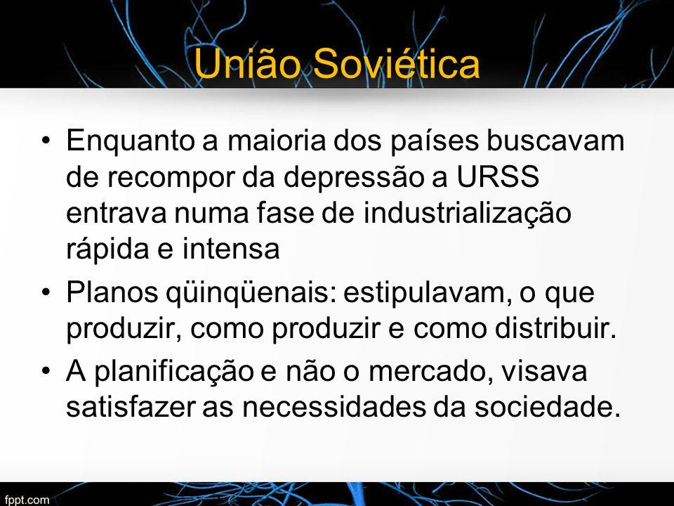 União Soviética Enquanto a maioria dos países buscavam de recompor da depressão a URSS entrava numa fase de industrialização rápida e intensa.