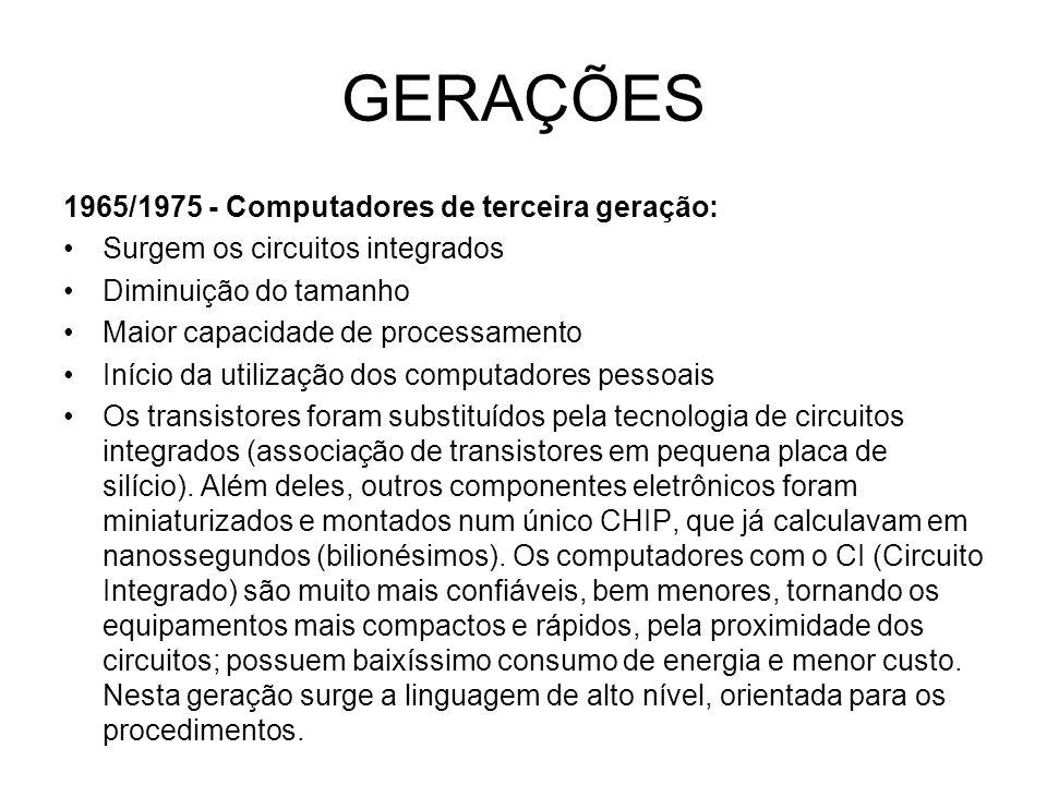 GERAÇÕES 1965/1975 - Computadores de terceira geração: