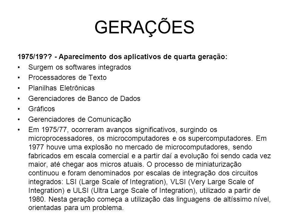 GERAÇÕES 1975/19 - Aparecimento dos aplicativos de quarta geração: