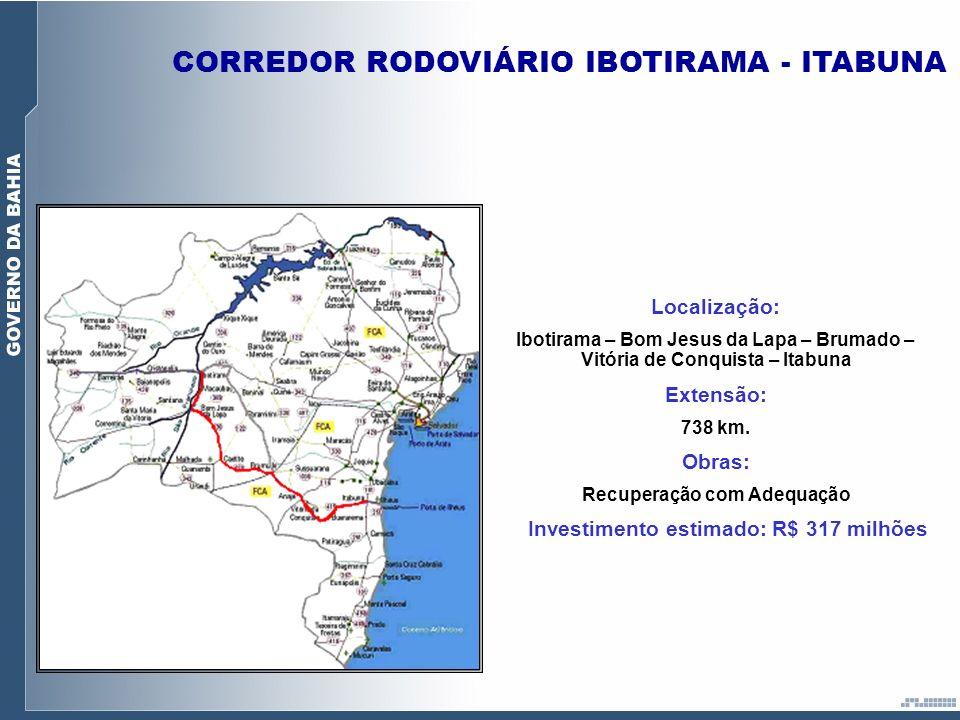 Investimento estimado: R$ 317 milhões