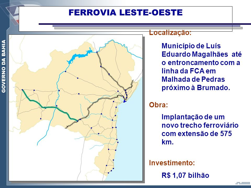 FERROVIA LESTE-OESTE Localização: