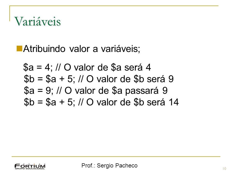 Variáveis Atribuindo valor a variáveis;