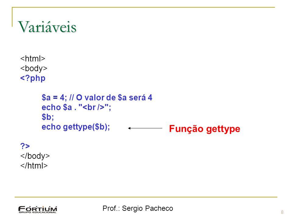 Variáveis Função gettype <html> <body> < php