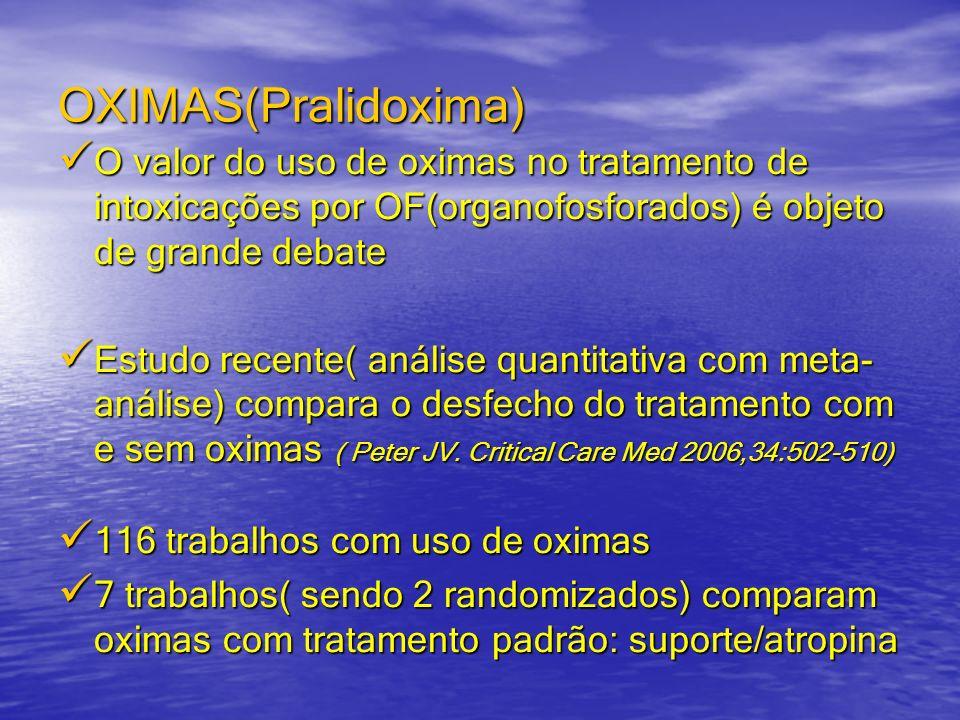 OXIMAS(Pralidoxima) O valor do uso de oximas no tratamento de intoxicações por OF(organofosforados) é objeto de grande debate.