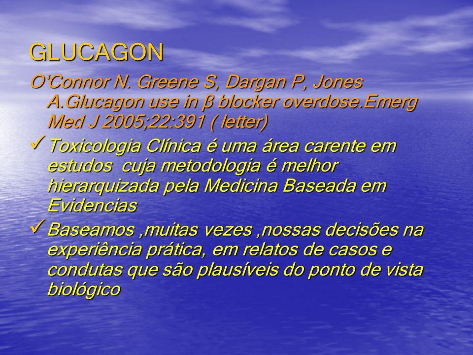 GLUCAGONO'Connor N. Greene S, Dargan P, Jones A.Glucagon use in β blocker overdose.Emerg Med J 2005;22:391 ( letter)