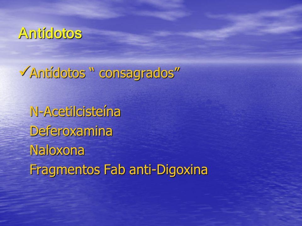 Antídotos Antídotos consagrados N-Acetilcisteína Deferoxamina
