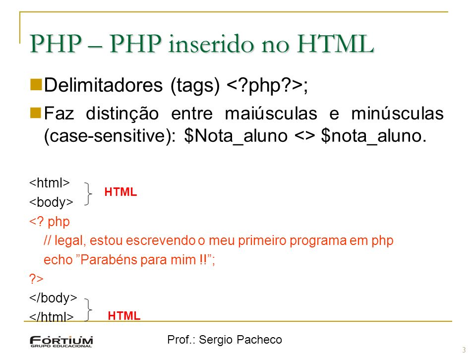 PHP – PHP inserido no HTML