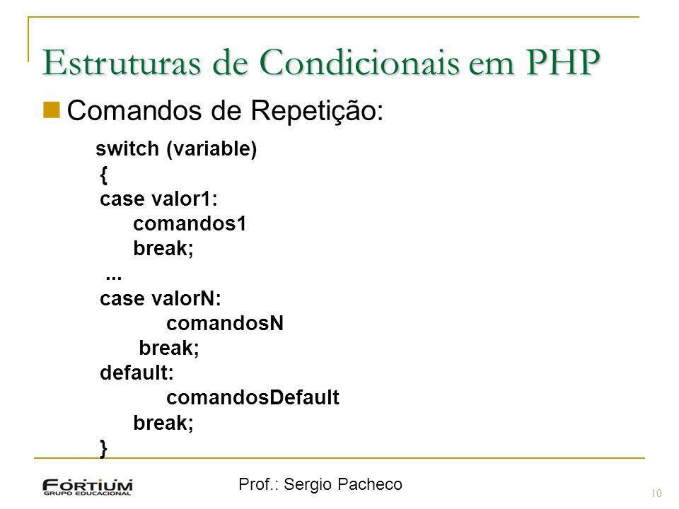Estruturas de Condicionais em PHP