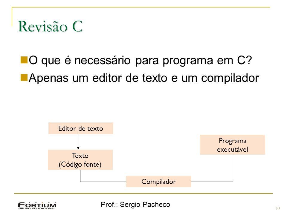 Revisão C O que é necessário para programa em C