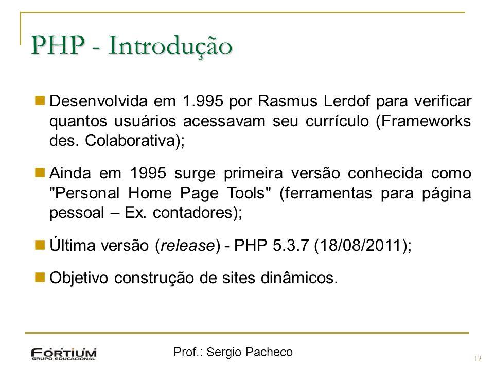 PHP - Introdução Desenvolvida em 1.995 por Rasmus Lerdof para verificar quantos usuários acessavam seu currículo (Frameworks des. Colaborativa);