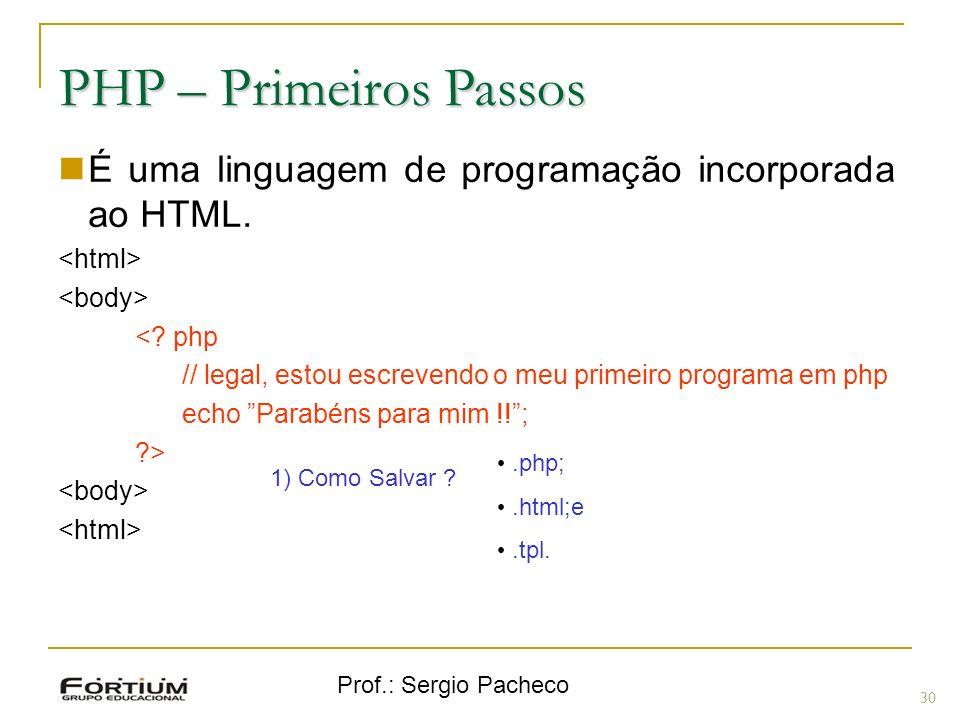 PHP – Primeiros Passos É uma linguagem de programação incorporada ao HTML. <html> <body> < php.