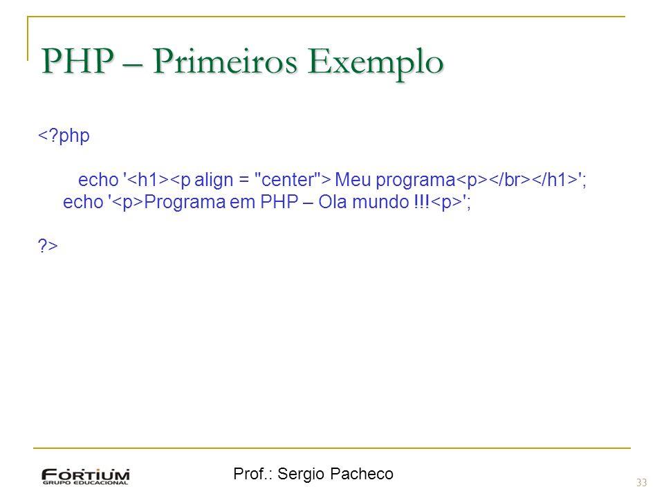PHP – Primeiros Exemplo