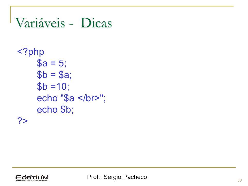 Variáveis - Dicas < php $a = 5; $b = $a; $b =10;