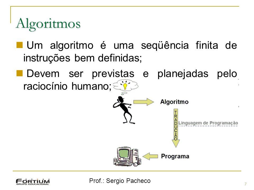 Algoritmos Um algoritmo é uma seqüência finita de instruções bem definidas; Devem ser previstas e planejadas pelo raciocínio humano;