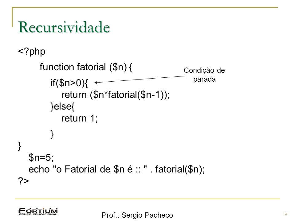 Recursividade < php function fatorial ($n) { if($n>0){