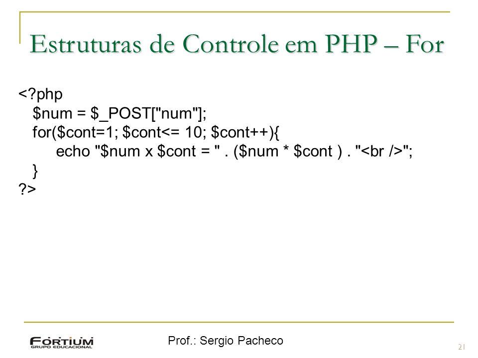Estruturas de Controle em PHP – For