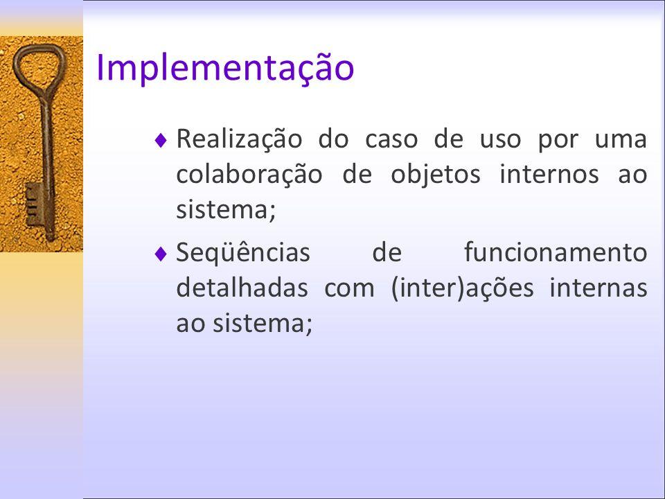 Implementação Realização do caso de uso por uma colaboração de objetos internos ao sistema;