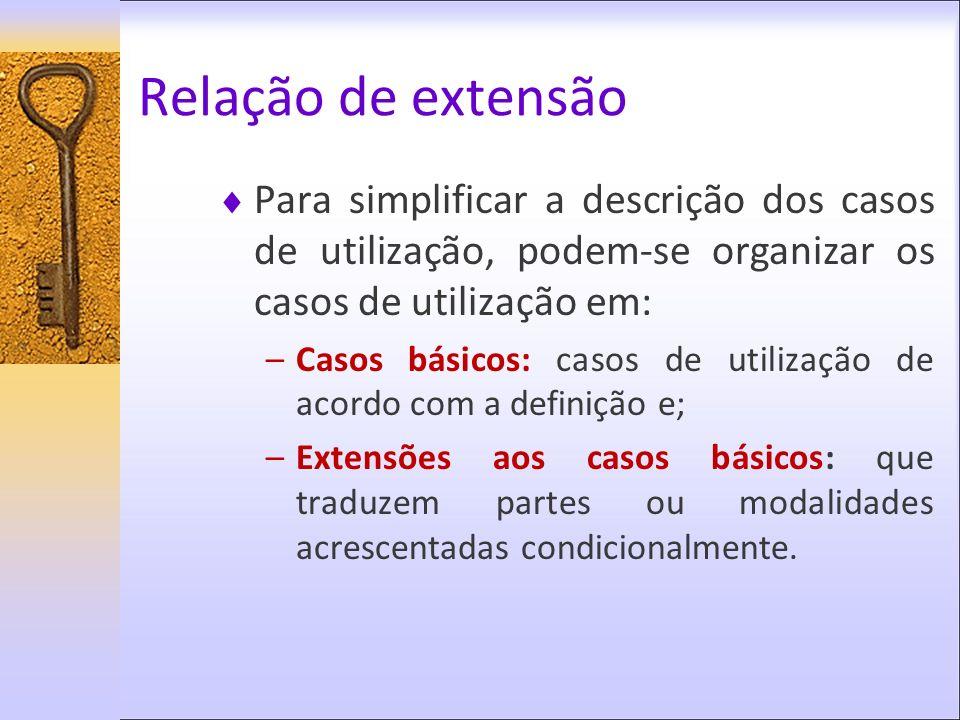 Relação de extensão Para simplificar a descrição dos casos de utilização, podem-se organizar os casos de utilização em: