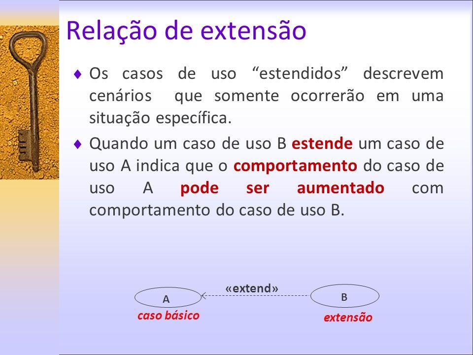 Relação de extensão Os casos de uso estendidos descrevem cenários que somente ocorrerão em uma situação específica.