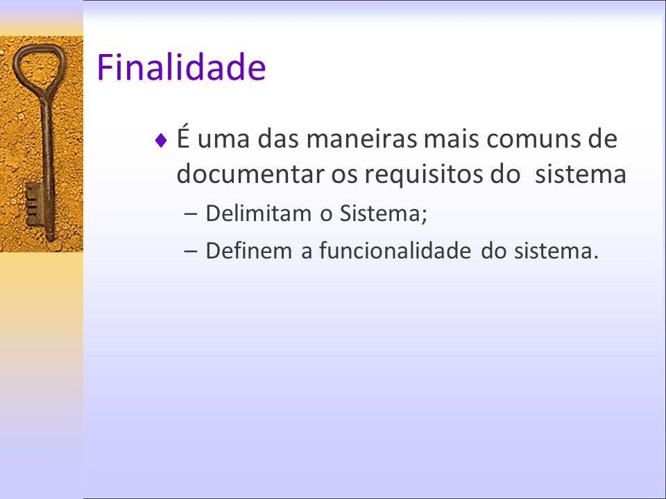 Finalidade É uma das maneiras mais comuns de documentar os requisitos do sistema. Delimitam o Sistema;