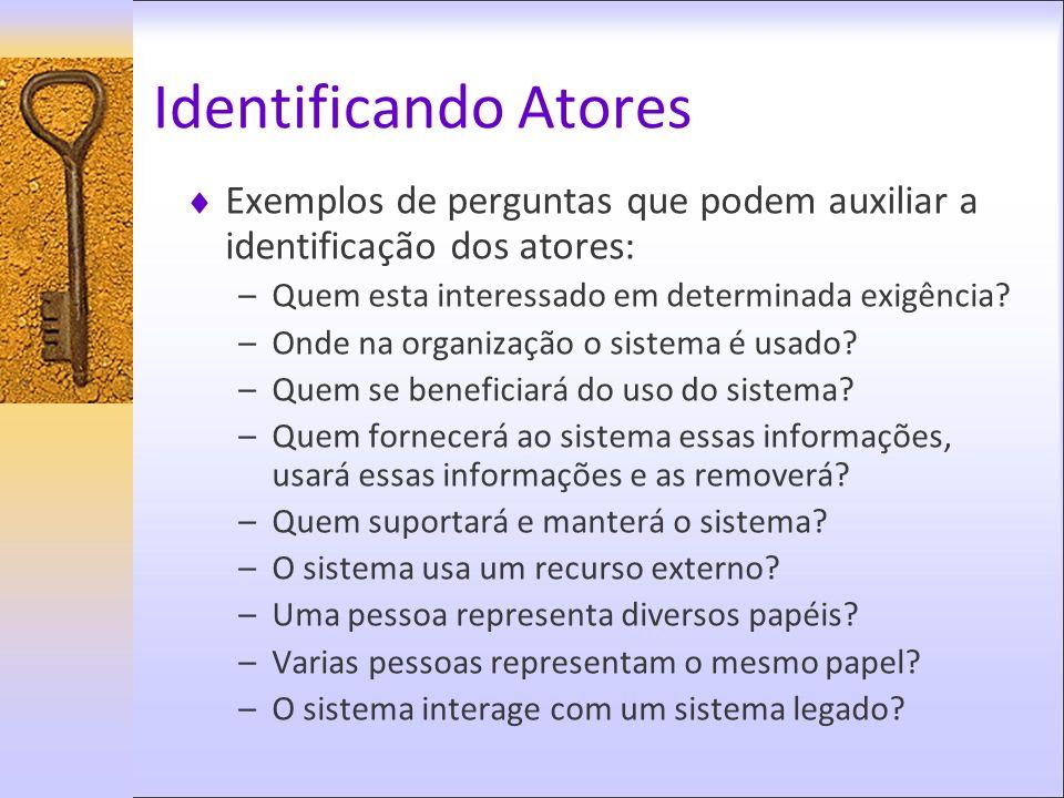 Identificando Atores Exemplos de perguntas que podem auxiliar a identificação dos atores: Quem esta interessado em determinada exigência