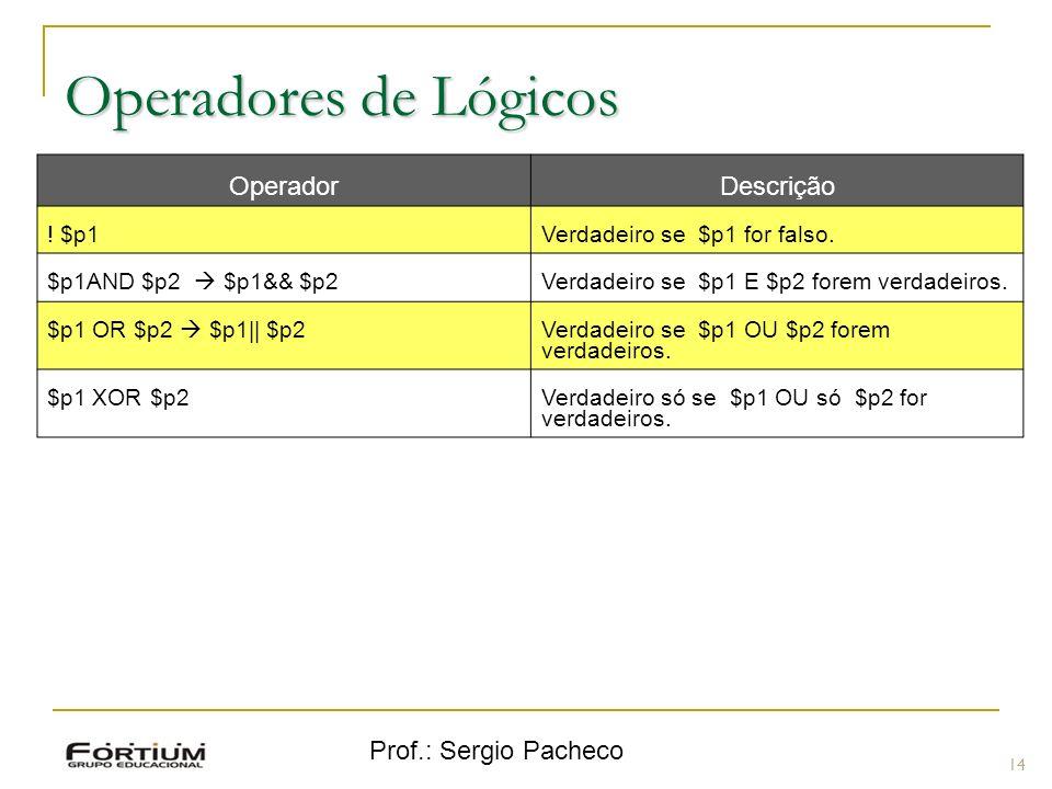 Operadores de Lógicos Operador Descrição Prof.: Sergio Pacheco ! $p1
