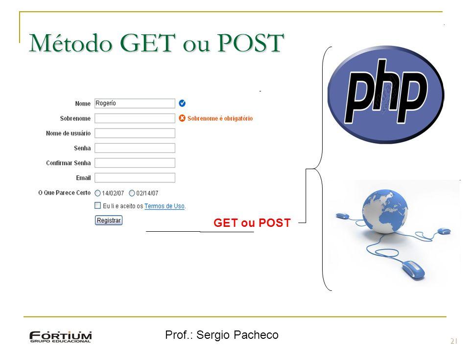 Método GET ou POST GET ou POST Prof.: Sergio Pacheco 21 21