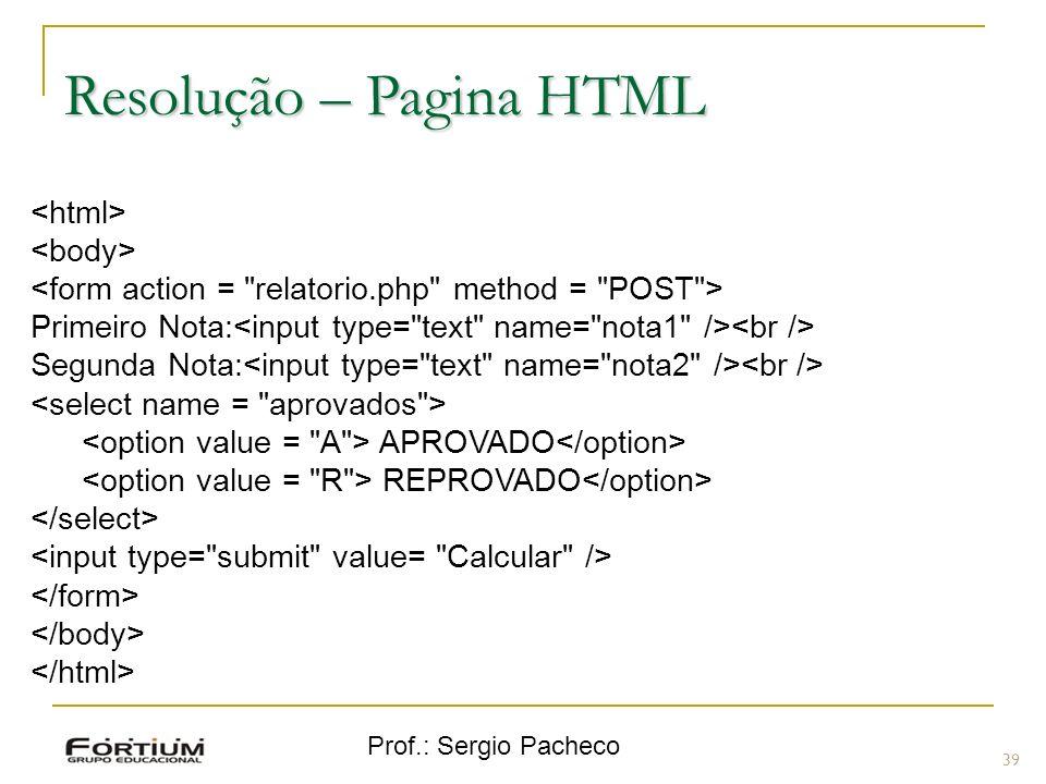 Resolução – Pagina HTML