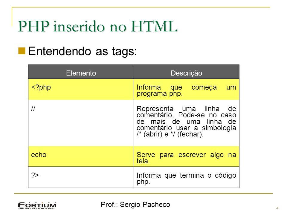 PHP inserido no HTML Entendendo as tags: Elemento Descrição < php